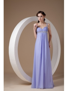 Pretty Lilac Mother of the Bride Dress Empire Straps  Chiffon Beading Floor-length