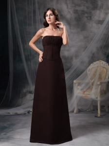 Simple Brown Floor-length Bridesmaid Dress Column Strapless Chiffon Ruch