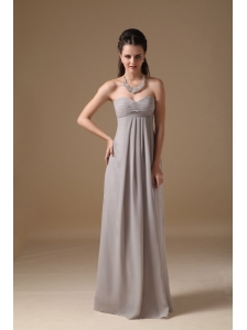 Simple Grey Cheap Bridesmaid Dress Empire Sweetheart Chiffon Ruch Floor-length