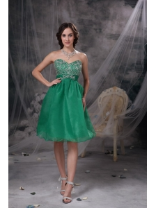 Sweet Green A-line Sweetheart Prom / Homecoming Dress Organza Beading Knee-length