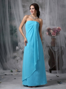 Beautiful Baby Blue Empire Strapless Homecoming Dress Chiffon Floor-length