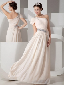 Beautiful Champagne Empire Evening Dress One Shoulder Chiffon Beading Floor-length