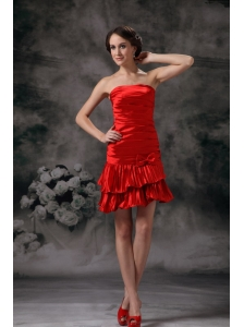 Beautiful Red Column Cocktail Dress Strapless Taffeta Ruch Mini-length