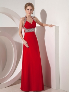Beautiful Wine Red Column Halter top Prom Dress with Beading