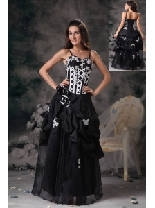 Custom Made Black and White Evening Dress Column Spaghetti Straps Taffeta Beading Floor-length