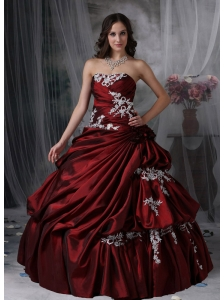 Custom Made Burgundy Ball Gown Strapless Quinceanera Dress Taffeta Appliques Floor-length
