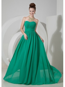 Custom Made Turquoise Empire Sweetheart  Homecoming Dress Chiffon Brush Train
