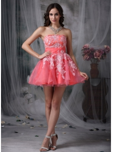 Custom Made Watermelon A-line Strapless Homecoming Dress Organza Appliques Mini-length