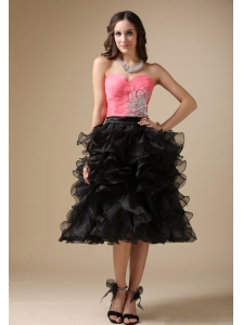 Custom Made Watermelon Red and Black Evening Dress Column Sweetheart Organza Beading Tea-length