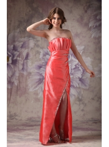 Custom Made Watermelon Red Mother of the Bride Dress Column Strapless Taffeta Beading Floor-length