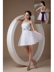 Custom Made White Cocktail Dress A-line Strapless Organza Hand Made Flowers Mini-length