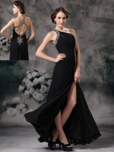 Customize Black Empire One Shoulder Evening Dress Chiffon Beading Floor-length