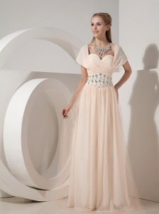 Customize Champagne Column Sweetheart Mother Of The Bride Dress Chiffon Beading Floor-length