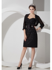 Customize Column Sweetheart Little Black Dress Satin Belt and Beading Mini-length
