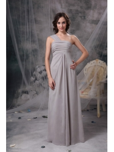 Customize Grey Column One Shoulder Mother Of The Bride Dress Chiffon Ruch Floor-length