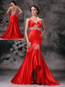 Customize Red A-line Straps Evening Dress Elastic Woven Satin Appliques High-low