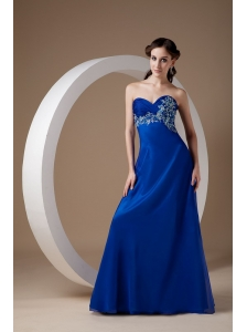 Customize Royal Blue Empire Evening Dress Sweetheart Chiffon Appliques Brush Train