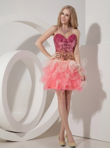 Customize Watermelon Cocktail Dress Red A-line Sweetheart Organza Beading Mini-length