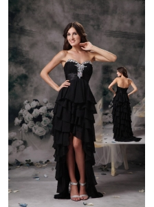 Discount Black High-low Chiffon Prom Dress