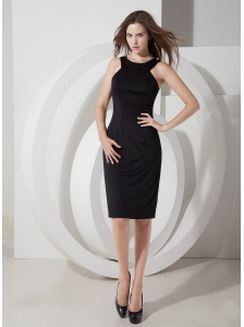 Elegant Column Scoop Little Black Dress Satin Knee-length