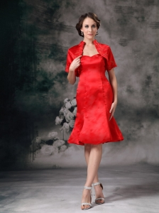 Elegant Red Column Sweetherart Mother Of Bride Dress Taffeta Knee-length