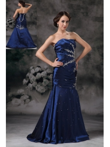 Exclusive Royal Blue Mermaid Strapless Evening Dress Taffeta Appliques Brush Train