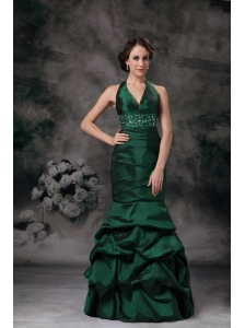 Exquisite Dark Green Mermaid Halter Evening Dress Taffeta Beading Floor-length