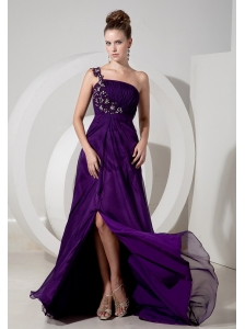 Exquisite Evening Dress Eggplant Purple Empire One Shoulder Chiffon Appliques Brush Train