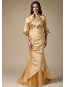 Gold Mermaid Strapless Mother of the Bride Dress Appliques and Ruch