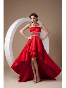 High-low Red A-line Prom Dress Strapless Elastic Wove Satin Beading