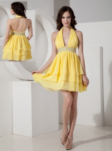 Inexpensive Yellow Empire Cocktail Dress Halter Chiffon Beading Mini-length