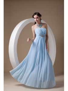 Light Blue Elegant Bridesmaid Dress Empire Strapless Chiffon Beading and Ruch Floor-length