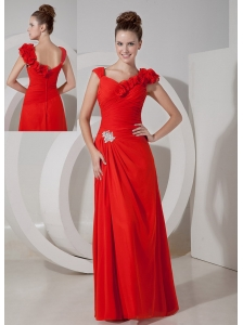 Luxurious Red Empire V-neck Floor-length Chiffon Appliques Evening Dress