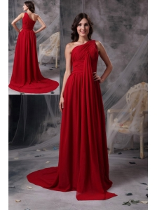 Modern Red Empire One Shoulder Evening Dress Chiffon Ruch Brush Train
