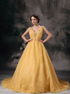 Modest Yellow A-line V-neck Mother Of The Bride Dress Organza Beading Brush Train