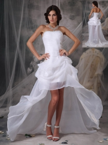 Most Popular High-low White Prom Dress Princess Strapless Organza Beading