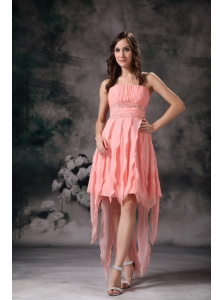 Perfect Peach Knee-length Short Prom Dress Strapless Chiffon
