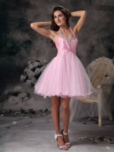 Popular Baby Pink Cocktail Dress A-line Halter Organza Beading Mini-length