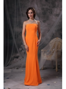 Popular Orange Mermaid Evening Dress Strapless Satin Floor-length