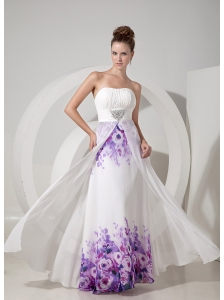 Popular White Empire Strapless Evening Dress Chiffon and Printing Beading Floor-length
