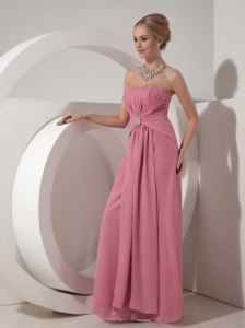 Pretty Dusty Rose Mother of the Bride Dress Column Strapless Floor-length Chiffon Beading