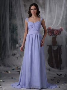 Pretty Lilac Empire Mother of the Bride Dress Square Chiffon Beading and Ruch Brush Train