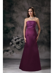 Purple Column Elegant Bridesmaid Dress Strapless Taffeta Beading Floor-length