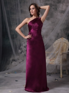 Purple One Shoulder  Mother Of The Bride Dress Floor-length Ruch