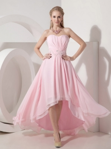 Sexy Baby Pink Empire Cocktail Dress Sweetheart Chiffon Beading High-low