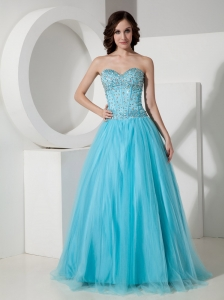Simple Light Blue A-Line / Princess Sweetheart Quinceanera Dress Tulle Beading Floor-length