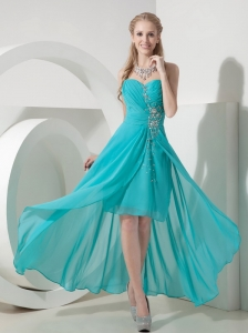 Sweet Turquoise High-low Sweetheart Prom Dress Chiffon Beading