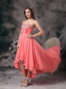 Sweet Watermelon Red A-line Sweetheart Homecoming Dress Chiffon Beading and Bows High-low