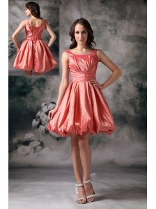 The most Popular Watermelon Red Cocktail Dress A-line Scoop Taffeta Mini-length