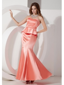 The Super Hot Watermelon Evening Dress Mermaid Sweetheart Taffeta Ruch Ankle-length